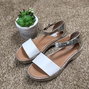 G.H Bass Silver and White Platform Sandals